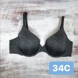 Victoria's Secret Grey Semi Demi Uplift Bra 34C